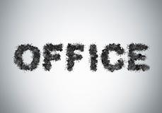 La palabra OFICINA se compone de sillas de cuero negras de la oficina Foto de archivo libre de regalías