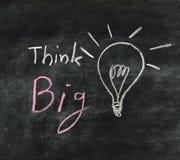 La palabra piensa la bombilla grande y Imagen de archivo