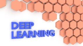 La palabra profundamente que aprende en azul en blanco al lado de modelo del hexágono libre illustration