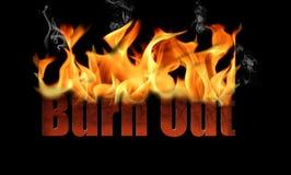La palabra quema en texto del fuego Imagenes de archivo