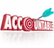 La palabra responsable 3d pone letras a la flecha para apuntar responsabilidad Imagen de archivo