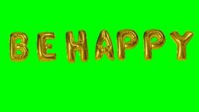 La palabra sea feliz de las letras del globo del oro del helio que flotan en la pantalla verde - almacen de video
