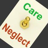 La palanca de la negligencia del cuidado significa compasivo o irresponsable Imagen de archivo