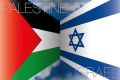 La Palestina contro le bandiere dell'Israele Immagine Stock Libera da Diritti