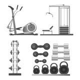 La palestra o le attrezzature e gli accessori del club di sport di forma fisica vector le icone piane Immagine Stock
