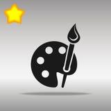La paleta de madera negra del arte con las pinturas y el icono de los cepillos abotona concepto del símbolo del logotipo de alta  Fotos de archivo libres de regalías