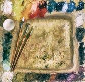 La paleta del artista, cepillos, vintage Fotografía de archivo