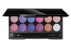 La palette colorée de fard à paupières et rougissent pour le vecteur de maquillage Images stock