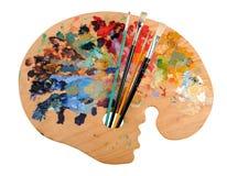 La palette de l'artiste avec des balais Photographie stock libre de droits