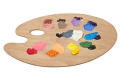 La palette de l'artiste avec des couleurs fondamentales Images libres de droits