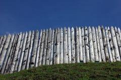 La palizada de madera en el eje de la hierba verde del fuerte antiguo Fotos de archivo libres de regalías