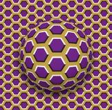 La palla con un rotolamento del modello di esagoni lungo gli esagoni sorge Illustrazione astratta di illusione ottica di vettore Fotografia Stock Libera da Diritti