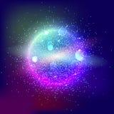 La palla d'ardore luminosa ha riempito di particelle e di polvere Fotografia Stock Libera da Diritti