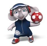 La palla 3d della tenuta dell'elefante del carattere rende Immagine Stock Libera da Diritti