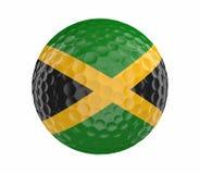La palla da golf 3D rende con la bandiera della Giamaica, isolata su bianco Fotografia Stock Libera da Diritti