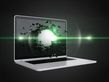 La palla da golf distrugge il computer portatile royalty illustrazione gratis