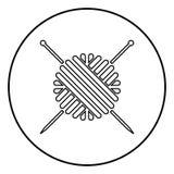 La palla del filato di lana e l'icona dei ferri da maglia anneriscono il colore nel cerchio rotondo illustrazione vettoriale