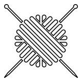 La palla del filato di lana e l'icona dei ferri da maglia anneriscono l'immagine semplice di stile piano dell'illustrazione di co illustrazione di stock