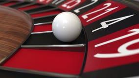 La palla della ruota di roulette del casinò colpisce 4 quattro il nero, la rappresentazione 3D Fotografia Stock Libera da Diritti
