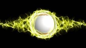 La palla di baseball nel giallo fiammeggia le particelle astratte suona, animazione illustrazione vettoriale