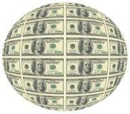 La palla di cento banconote in dollari $ 100 è la più grande denominazione corrente del dollaro americano Sul complemento compare Illustrazione Vettoriale