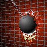La palla di distruzione & la parete rossa Immagini Stock Libere da Diritti
