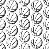La palla di pallacanestro di schizzo, vector il modello senza cuciture Fotografia Stock