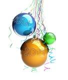 La palla di vetro di Natale gioca 2015 nuovi anni Fotografia Stock