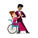 La palla disabile di dancing dell'uomo dell'afroamericano e della donna balla Immagini Stock
