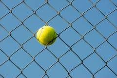 La pallina da tennis ha attaccato dentro ruba il colpo di orizzontale della rete metallica fotografia stock libera da diritti