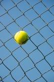 La pallina da tennis ha attaccato dentro ruba il colpo di verticale della rete metallica immagini stock libere da diritti