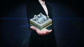 La palma abierta de la empresaria, edificios 3D hace la ciudad, camino rodeado edificios opinión del ejemplo