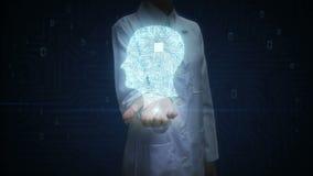 La palma abierta del doctor de sexo femenino, forma principal del cerebro conecta las líneas digitales, ampliando la inteligencia libre illustration