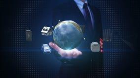 La palma abierta del hombre de negocios, casa elegante, fábrica elegante, edificio, coche, móvil, sensor de Internet conecta el t stock de ilustración