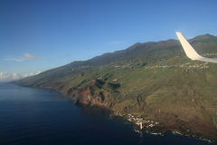 La Palma from airplane Stock Image
