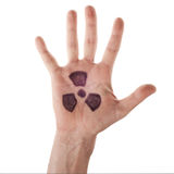 La palma aperta con il segno di radiazione Fotografia Stock
