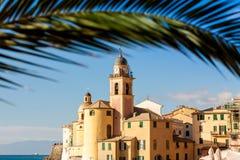 La palma enmarcó la iglesia en Camogli, cerca de Génova, Italia Fotos de archivo libres de regalías