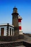 La Palma Fuencaliente lighthouse in saltworks Stock Photo
