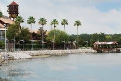La palma ha allineato lo stagno alle primavere di Disney in Disney del centro Orlando, Florida Fotografia Stock Libera da Diritti