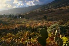 La Palma island landscape. Scenic landscape of mountainous La Palma island with cactus in foreground, Canary Islands, Spain Royalty Free Stock Image