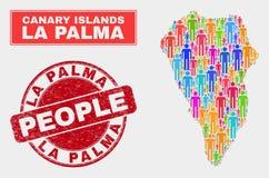 La Palma Island Map Population Demographics e selo riscado do selo ilustração do vetor