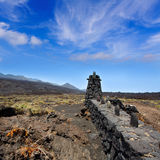 La Palma lava stone fence column in Fuencaliente Royalty Free Stock Images
