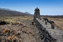 La Palma lava stone fence column in Fuencaliente Stock Images