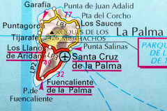La Palma map. The Island of La Palma in detail on the map stock image