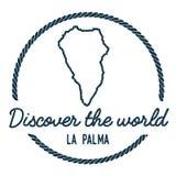 La Palma Map Outline Le vintage découvrent le monde Images stock