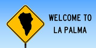 La Palma map on road sign. Wide poster with La Palma island map on yellow rhomb road sign. Vector illustration vector illustration