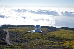 La Palma observatories clouds and ocean Stock Photo