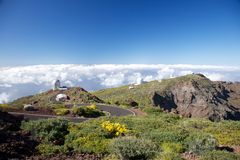 La Palma observatories over clouds Royalty Free Stock Images