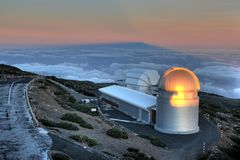 La Palma Observatory ORM. At Roque de los Muchachos in La Palma, Canary islands, Spain, one cand find one of the largest astronomical observatories in the world Royalty Free Stock Images