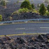 La Palma road detail in volcanic lava landscape Stock Photos